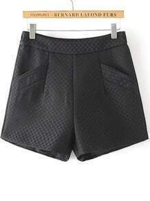 Black Pockets Slim Shorts