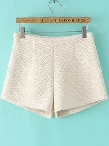 Beige Diamond Pattern Shorts