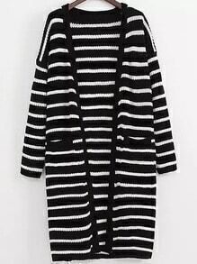Black White Long Sleeve Striped Pockets Cardigan