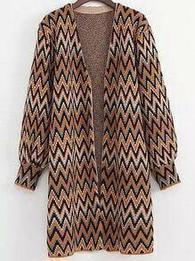 Multicolor Long Sleeve Zigzag Print Loose Cardigan