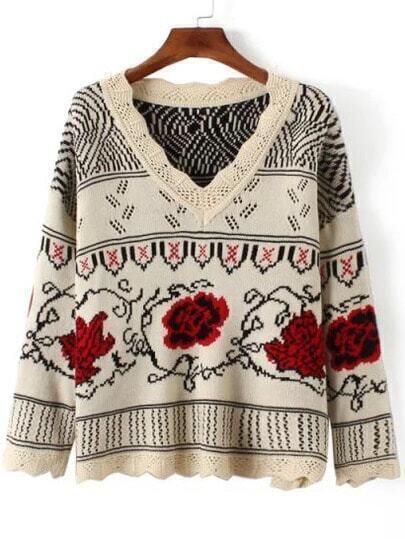 Red Beige V Neck Floral Vintage Sweater