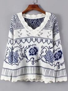 Blue White V Neck Floral Vintage Sweater