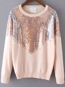Pink Round Neck Sequined Loose Sweater