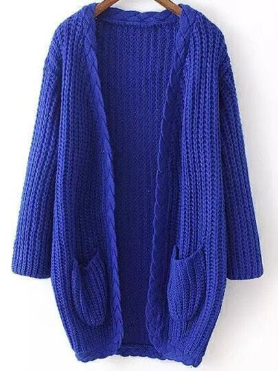 Blue Long Sleeve Cable Knit Pockets Cardigan