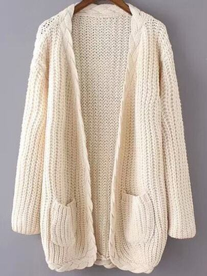 Beige Long Sleeve Cable Knit Pockets Cardigan