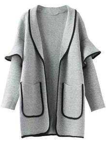 Grey Contrast Trims Ruffle Pockets Sweater Coat