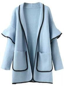 Blue Contrast Trims Ruffle Pockets Sweater Coat
