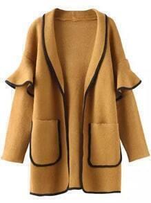Khaki Contrast Trims Ruffle Pockets Sweater Coat