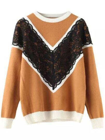 Khaki Round Neck Lace Embellished Knit Sweater