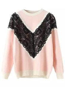 Pink Round Neck Lace Embellished Knit Sweater