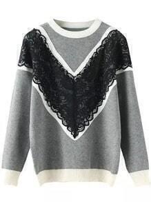 Grey Round Neck Lace Embellished Knit Sweater