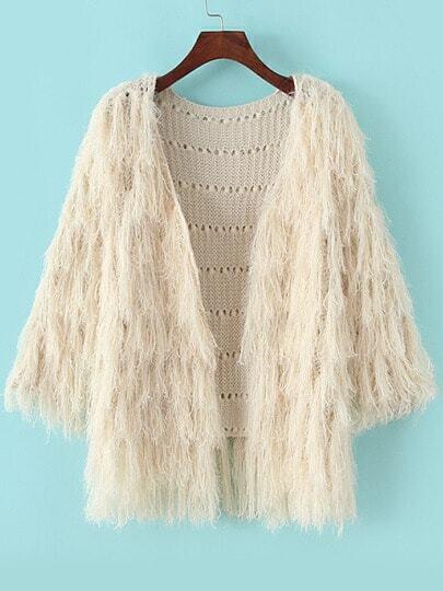 Beige Long Sleeve Tassel Knit Cardigan
