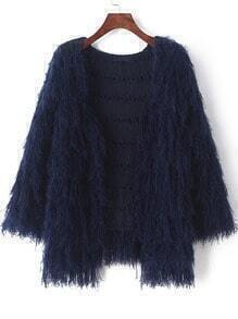 Navy Long Sleeve Tassel Knit Cardigan