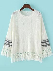 White Round Neck Hollow Tassel Knit Sweater