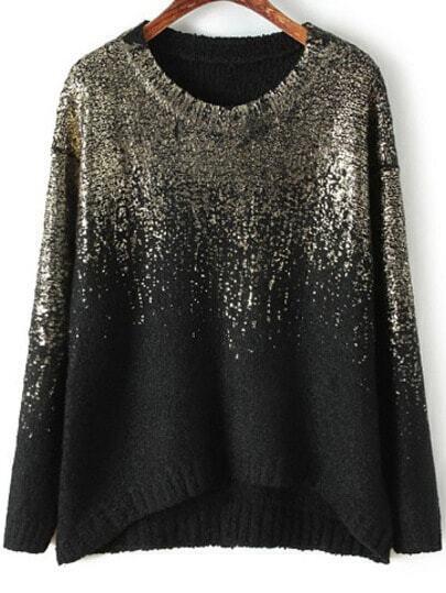Black Gold Round Neck Vintage Loose Sweater