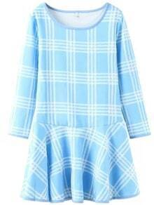 Blue White Round Neck Plaid Ruffle Dress