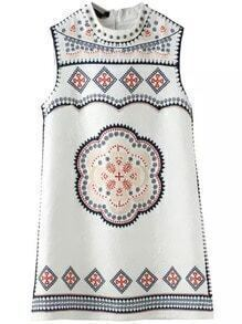 White Sleeveless Bead Crystals Floral Rhinestone Jacquard Dress