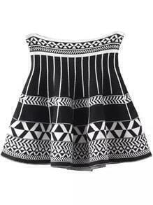 Black White Geometric Print Flare Skirt