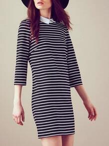 White Black Long Sleeve Lapel Striped Dress