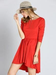 Red Long Sleeve High Low Pleated Dress