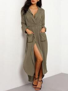 Army Green Long Sleeve Rockabilly Peasant Waistband Sophisticated Pockets Split Maxi Dress