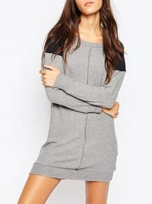 Grey Long Sleeve Color Block Dress