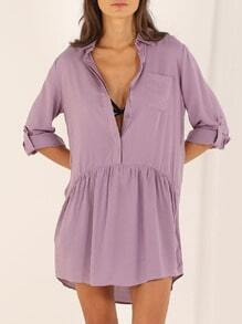 Purple Long Sleeve Lapel Dress