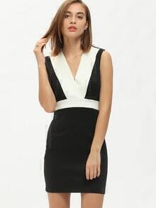 White Black Suiting Buisness Sleeveless Color Block Dress