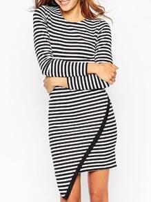 Black White Long Sleeve Striped Dress