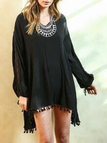 Black Long Sleeve Tassel Dress