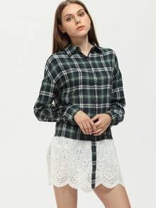 Green Long Sleeve Preppy Appropriately Checker Plaid Hollow Blouse