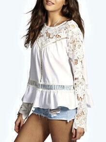 White Long Sleeve Crochet Lace Blouse