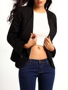 Black Long Sleeve Zipper Blazer
