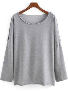 Grey Round Neck Batwing Loose Sweatshirt