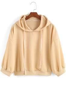 Apricot Hooded Loose Crop Sweatshirt