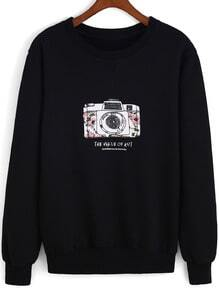 Black Round Neck Camera Print Loose Sweatshirt