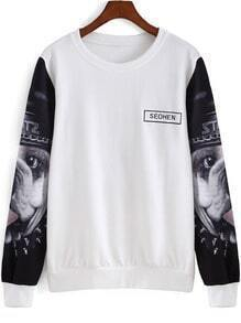 Black White Dog Letters Print Sweatshirt
