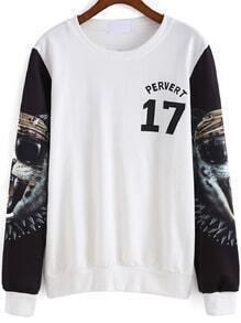 White Round Neck Tiger 17 Print Sweatshirt