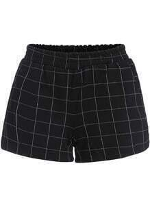 Black Elastic Waist Plaid Shorts