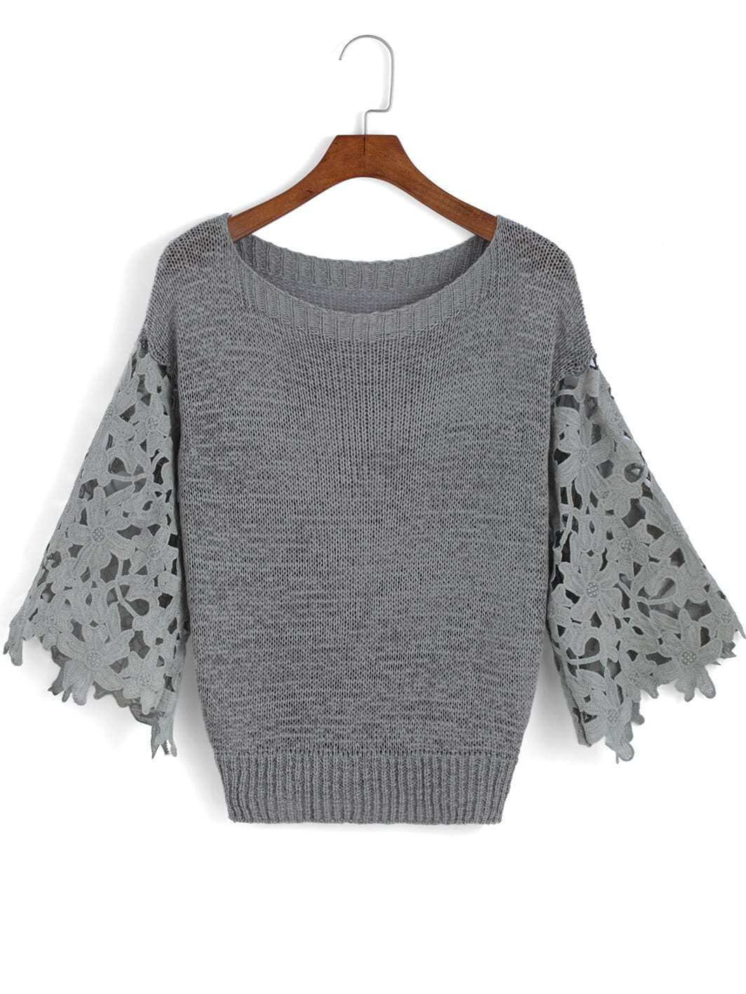 Grey Floral Crochet Round Neck Knit Sweater -SheIn(Sheinside)