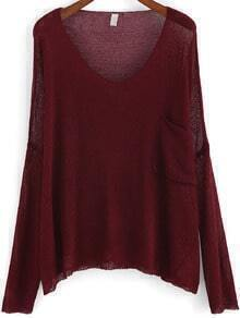 Red Scoop Neck Pocket Loose Knit Sweater