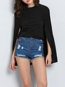 Black Round Neck Cape Asymmetrical Top