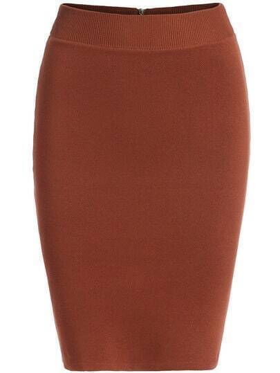 Khaki Slim Bodycon Knit Skirt