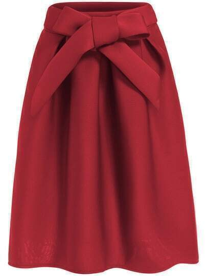 Red Bow Embellished Flare Skirt