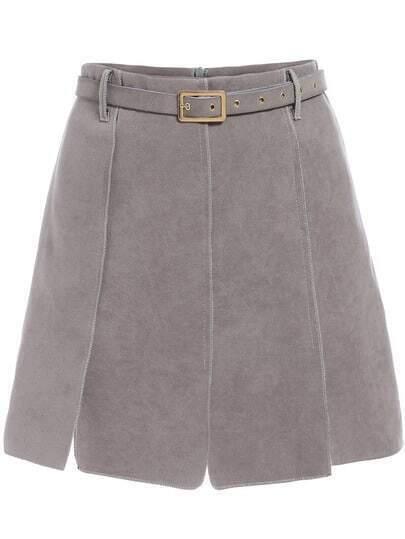 Grey Belt Suede Skirt