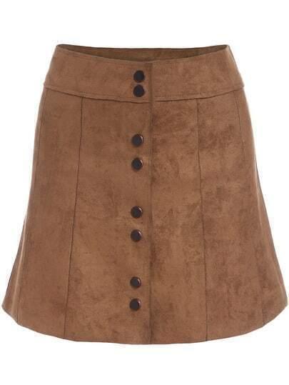 Khaki Buttons Suede Skirt