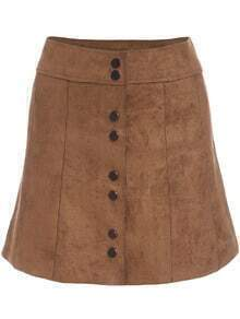Khaki Buttons Suede Skirt