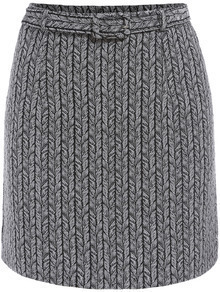 Grey Belt Cable Pattern Skirt