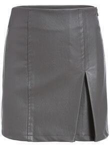 Grey Slim Split Bodycon Skirt