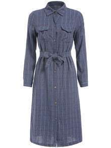 Blue Lapel Plaid Tie-waist Dress